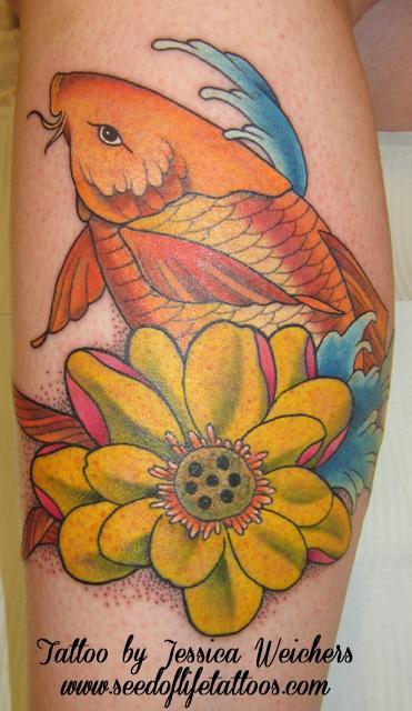 Tattoos - Koi with Lotus - 90011