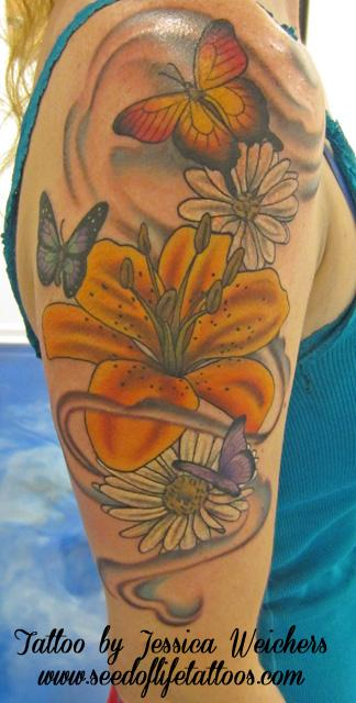 Tattoos - Pretty floral and Butterfly piece - 90017