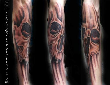 Tattoos - Custom Color Skull - 90013