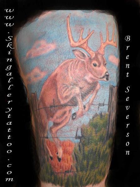 Tattoos - Deer Jumping Fence Tattoo - 98044