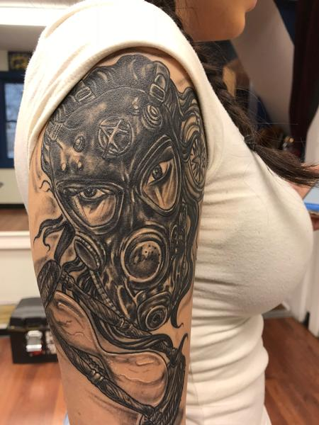 Tattoos - Gas mask black and grey - 132558