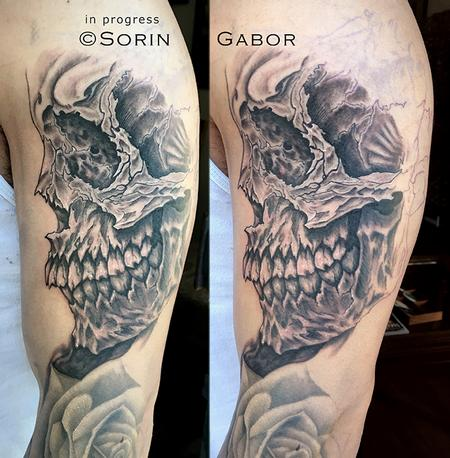 Tattoos - realistic and graphic black and gray sleeve tattoo in progress skull detail - 131437