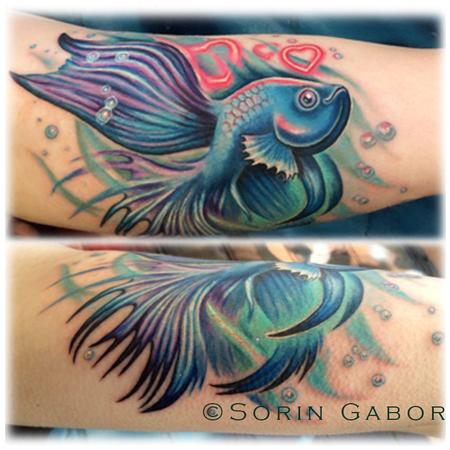 Tattoos - Realistic feminine color beta fish memorial tattoo - 104751