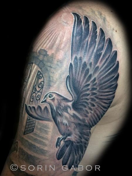 Tattoos - Realistic black and gray dove with rays and clouds - 120428