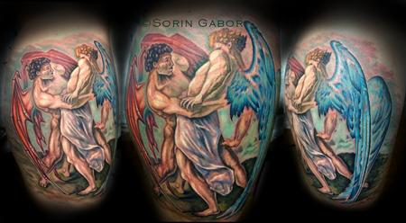 Tattoos - Color realistic angel/demon calf tattoo  - 112095