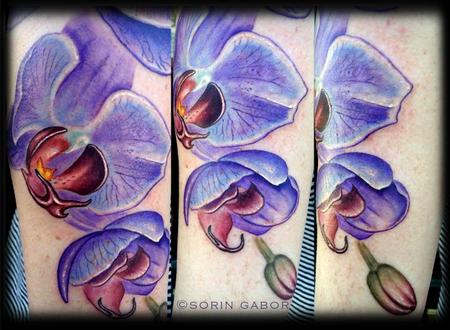 Tattoos - Realistic color purple orchid and orchid mantis tattoo in progress - 120621