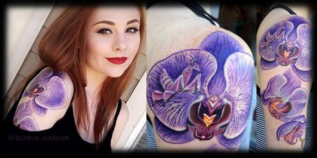 Tattoos - Realistic color purple orchid and orchid mantis tattoo in progress details and healed - 120623