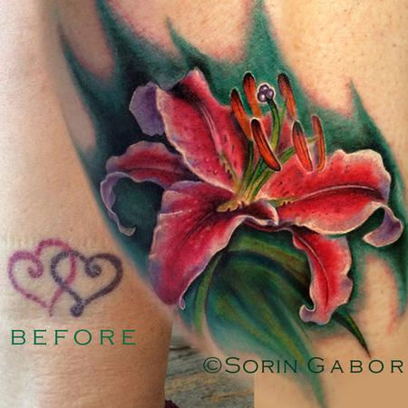 Tattoos - Realistic stargazer lily coverup tattoo - 120433