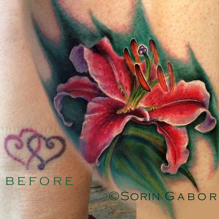 Tattoos - Realistic stargazer lily coverup tattoo - 120433