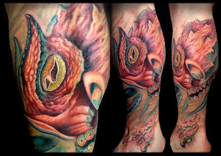 Tattoos - realistic color octopus puffer fish and bio sealife leg sleeve tattoo - 131422