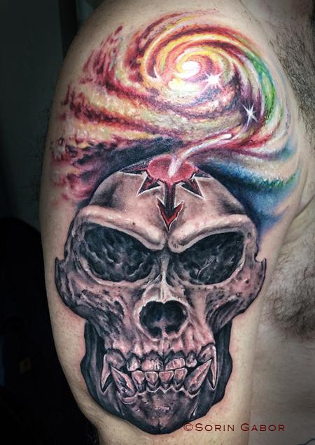 Tattoos - Realistic black and gray gorilla skull with color space tattoo - 120421