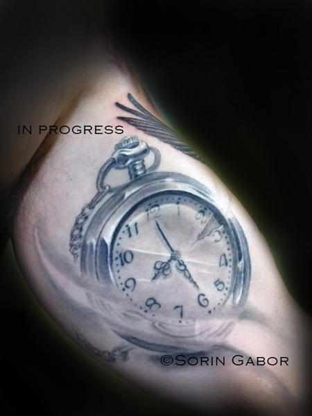 Tattoos - Realistic black and gray pocket watch tattoo - 120424