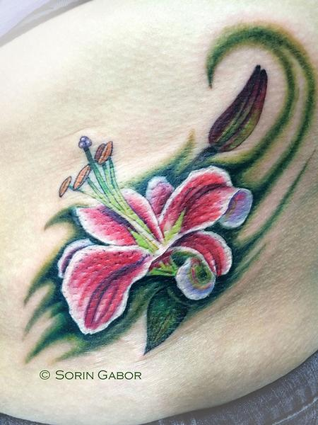Tattoos - Stargazer Lily tattoo on ribs - 93690