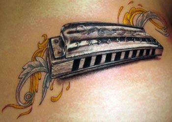 Stefano Alcantara - Harmonica tattoo