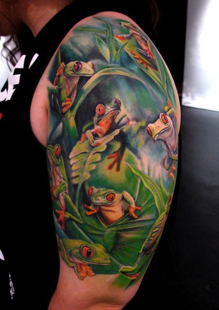 Tattoos - Tree Frogs half Sleeve tattoo - 65771