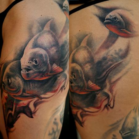 Tattoos - FreeHand Piranhas Leg Sleeve - 102250
