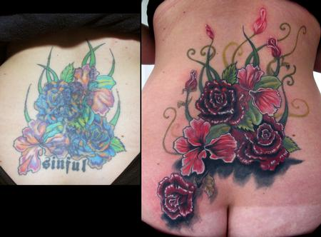 Tattoos - lower back flower coverup tattoo - 54819
