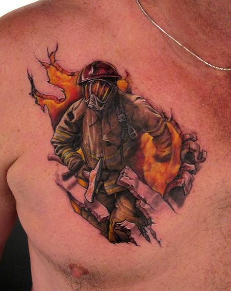 Tattoos - Firefighter chest tattoo - 54822