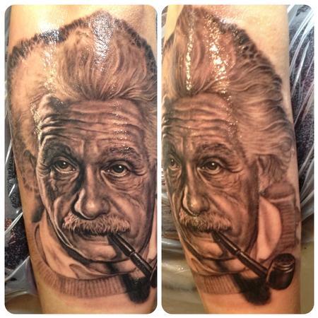 Albert Einstein Portrait Tattoo By Steve Wimmer Tattoonow
