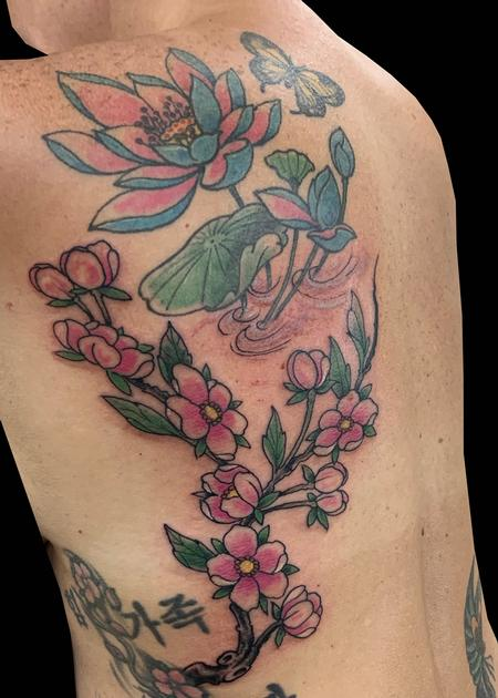 Tattoos - Lily & Cherry Blossoms - 139764
