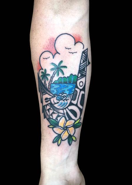Tattoos - Hawaiian Scene- Polynesian Hook - 139772
