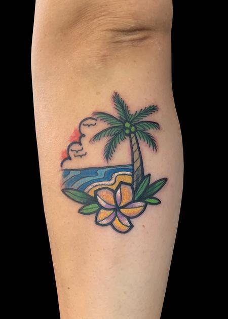 Tattoos - Hawaiian Scene Plumeria - 139770