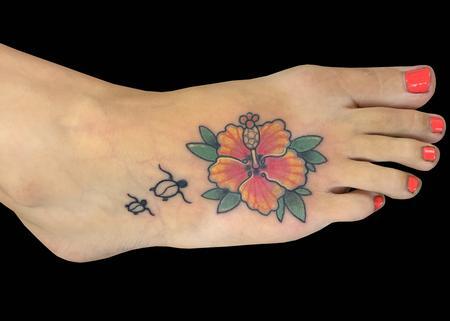 Tattoos - Hibiscus & Turtles - 139766