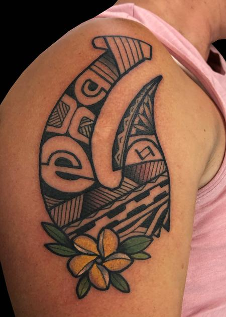 Tattoos - Polynesian Hook & Plumeria - 139787