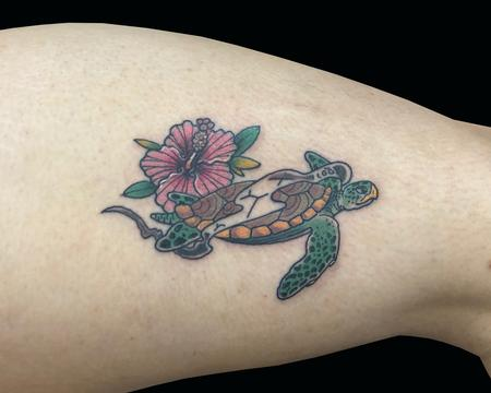 Tattoos - Turtle & Hibiscus - 137922
