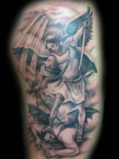 Tattoos - Saint Michael Slaying the Devil Tattoo - 24591