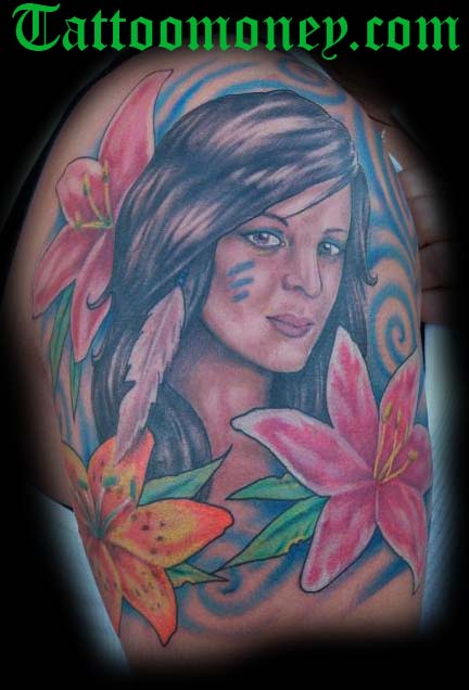Tattoos - Indian Girl Color Portrait Tattoo - 24543