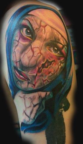 Tattoos - Cracked Nun tattoo - 26082