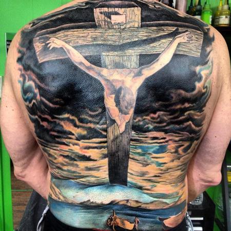 Tattoos - Salvador  Dali Inspired Back Piece - 77924