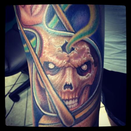 Tattoos - Skull in an hourglass tattoo close-up - 78221