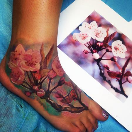 Tattoos - Cherry Blossom Foot Tattoo  - 91649