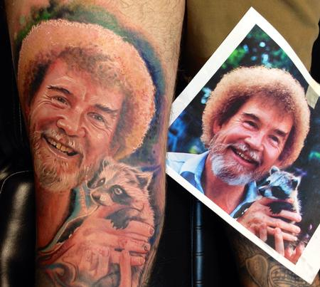 Tattoos - Bob Ross Portrait with Reference  - 93875