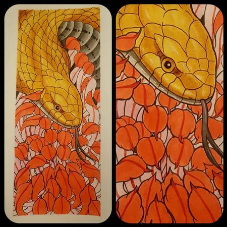Gloden cobra and chrysanthemum Art Thumbnail