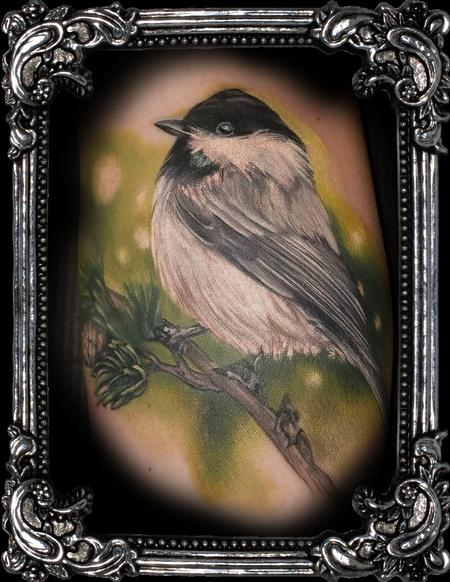 Tattoos - chickadee tattoo in painterly realism style - 140176