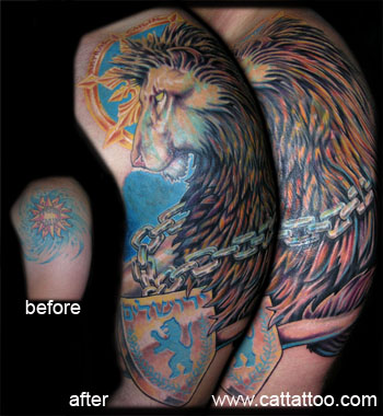 Tattoos - Lion Coverup - 19162
