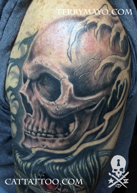 Tattoos - Skull Sleeve in Progress - 93701