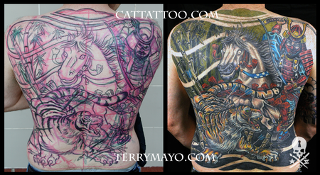 Tattoos - Samurai Hunting Tiger - 93686