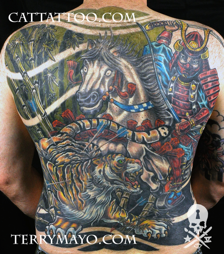 Tattoos - Samurai Hunting Tiger - 93687