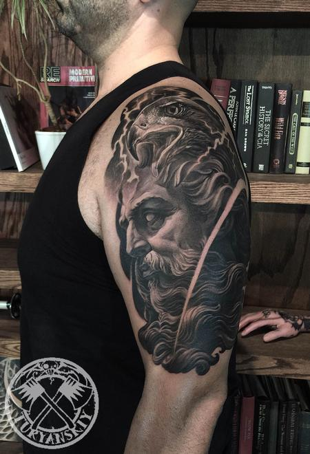 Oleg Turyanskiy - Zeus and eagle tattoo