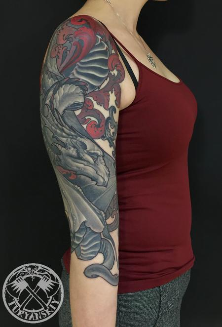 Tattoos - Dragon and a key tattoo - 122591