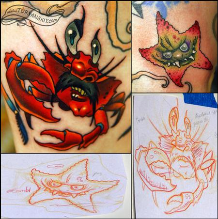 Tattoos - Crab and star fish - 73915
