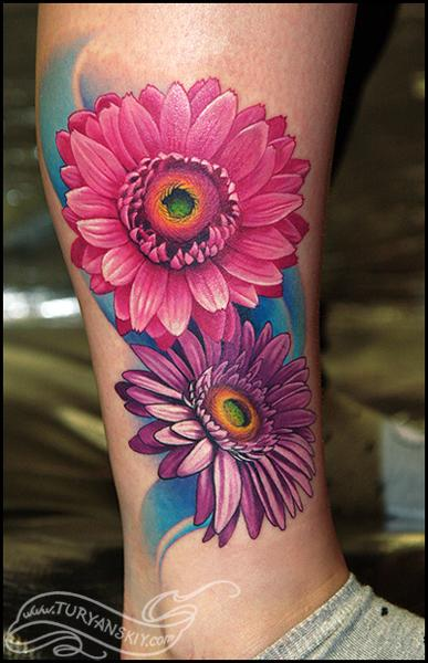 Tattoos - Gerbera daisy flowers - 59631
