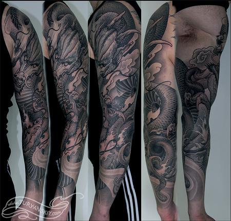 Tattoos - Two oriental dragons sleeve - 75276
