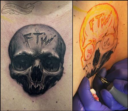Oleg Turyanskiy - freehand skull tattoo