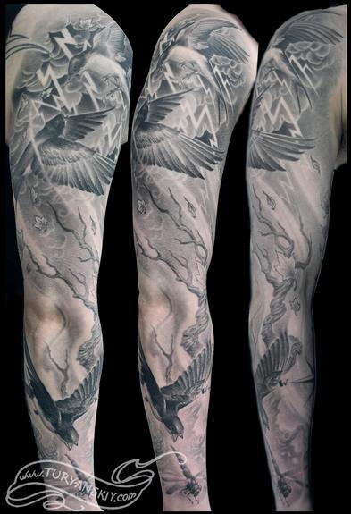 Tattoos - Swallow sleeve - 53435
