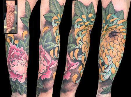 Tattoos - Spider Mum and Peony Flowers  - 139943
